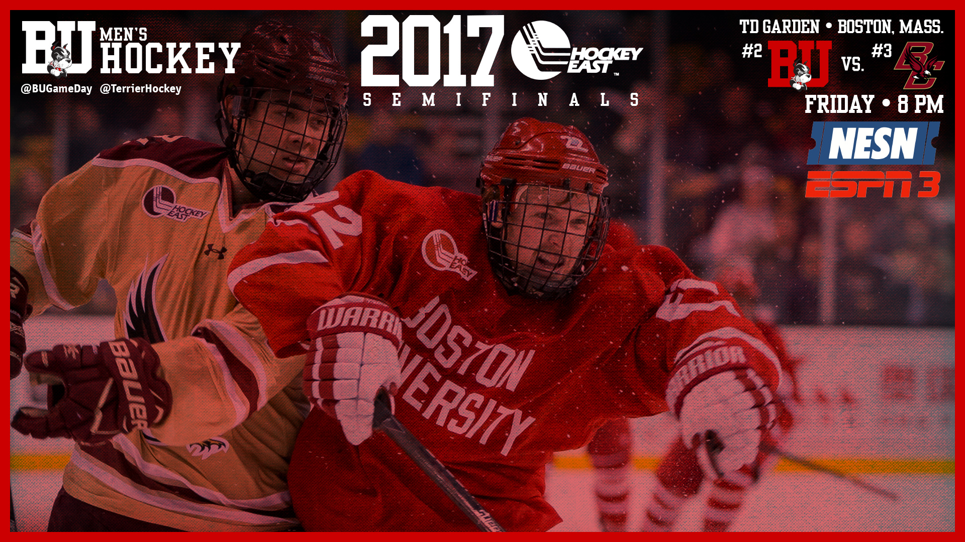 Terriers, Eagles Clash in Hockey East Semifinal Friday on
