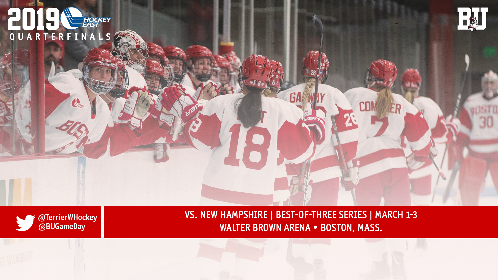 No  8 Terriers to Host New Hampshire in Hockey East Quarterfinals